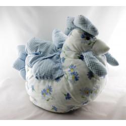 Doudou range pyjama poule tissu bleu fleurs NOUNOURS