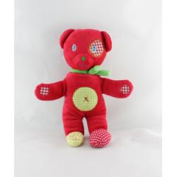 Doudou ours blanc écru coeur rouge NICOTOY