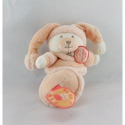 Doudou et compagnie hochet ours orange Douceur Macaron