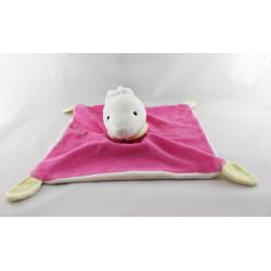 Doudou plat lapin blanc rose  jaune