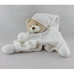 Doudou plat ours blanc rayé beige BM