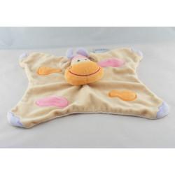 Doudou plat girafe vache beige taches orange rose NATTOU