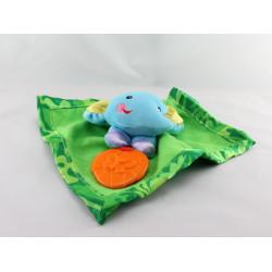 Doudou  plat éléphant bleu vert dentition FISHER PRICE