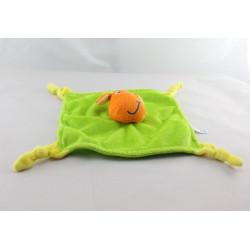Doudou  plat vache orange vert jaune LOGITOYS