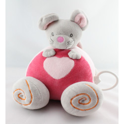 Doudou voiture musical souris grise rose coeur BABY NAT