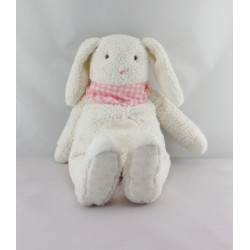 Doudou  lapin blanc écharpe rose Corolle