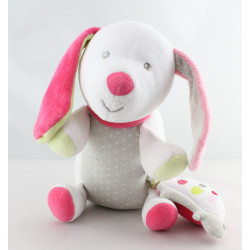 Doudou musical chien blanc gris rose tortue SUCRE D'ORGE