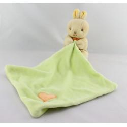 Doudou plat lapin mouchoir vert coeur MAXITA