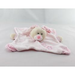 Doudou plat lapin rose fleurs BOUT'CHOU BOUTCHOU