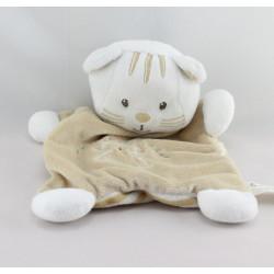 Doudou plat chat blanc beige VETIR