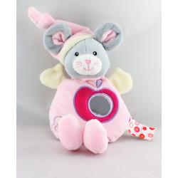 Doudou hochet miroir souris grise rose GIPSY
