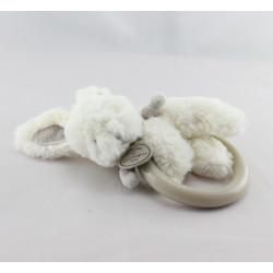 Doudou et compagnie anneau hochet lapin blanc beige