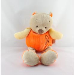 Doudou chat renard beige orange DOUKIDOU