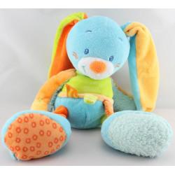 Doudou lapin bleu vert orange Funny Farmer NATTOU