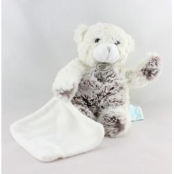 Doudou ours blanc gris tout doux mouchoir BABY NAT