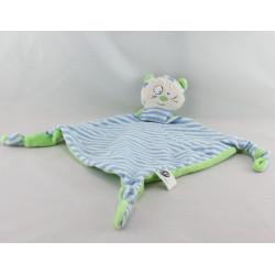 Doudou plat chat rayé bleu vert CP INTERNATIONAL