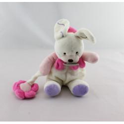 Mini Doudou lapin blanc rose mauve fleur BABY NAT