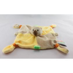 Doudou plat koala jaune beige vert Dodo d'amour MGM