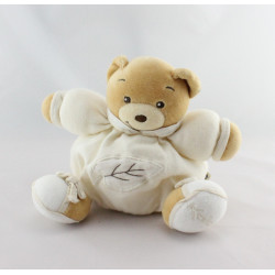 Doudou ours patapouf écru beige feuille KALOO