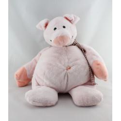 Doudou cochon rose écharpe rayé LASCAR