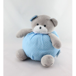 Doudou ours  boule bleu pois Musti de MUSTELA