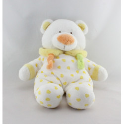 Doudou ours blanc coeurs jaunes GIPSY