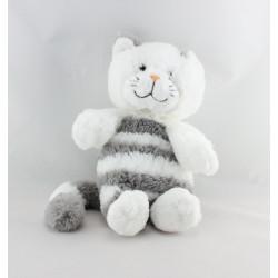 Doudou chat blanc tigré gris GIPSY