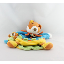 Doudou et compagnie marionnette renard bleu jaune orange Pablo