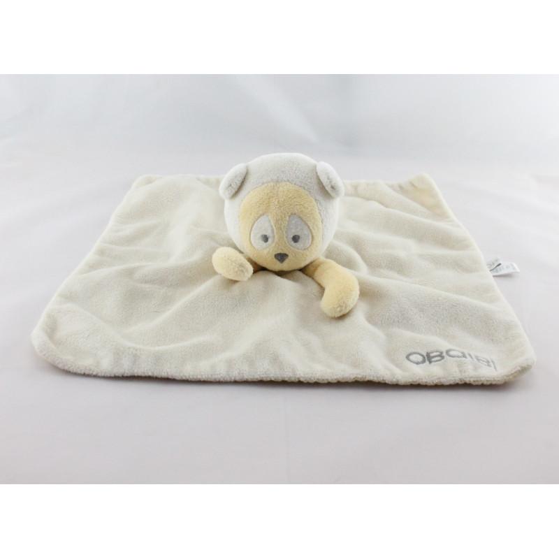 Doudou plat ours panda beige jaune OBAIBI