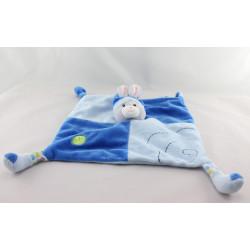 Doudou plat lapin bleu gris bulles feuilles GIPSY