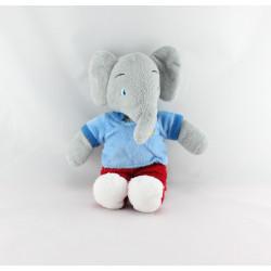 Doudou éléphant Babar bleu rouge LANSAY