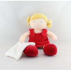 Doudou poupée fille rouge mouchoir BABY NAT