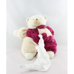 Doudou musical ours rose beige blanc poche CMP