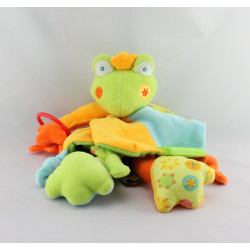 Doudou eveil plat grenouille verte bleu orange dentition Babysun