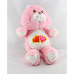 Ancienne Peluche Bisounours rose Groschéri 2 coeurs CARE BEARS 1983