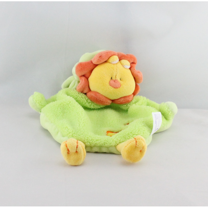 Doudou plat lion vert jaune orange BABY JEMINI