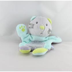 Doudou marionnette chat gris bleu vert violet SUCRE D'ORGE