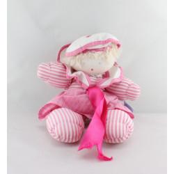 Doudou  poupée marin rose rayé MOULIN ROTY
