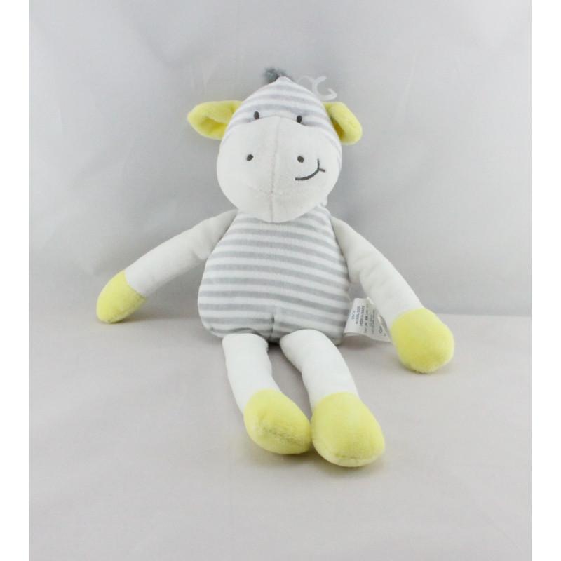 Doudou zébre blanc jaune rayé gris OBAIBI
