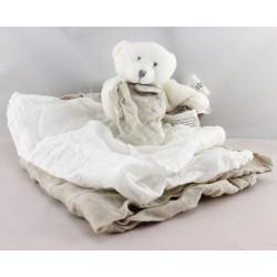 Doudou et compagnie ours plat blanc langes beige et blanc