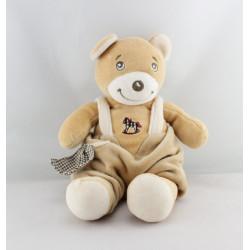 Doudou ours beige salopette cheval à bacule NOUNOURS