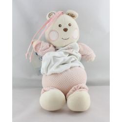 Doudou  musical ours blanc rose B coeur Bébé NOUNOURS