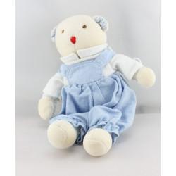 Doudou ours blanc bleu salopette JACADI