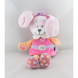 Doudou lapin rose orange violet fleur pois TEX BABY