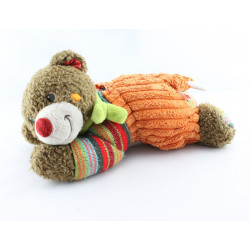 Doudou musical ours marron orange laine NICOTOY