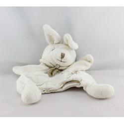 Doudou et compagnie bio plat marionnette lapin blanc  fleur