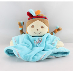 Doudou marionnette fille indienne robe bleu Pinto et Kaya NOUKIE'S