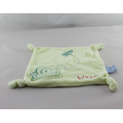 Doudou Plat carré winnie vert escargot papillon DISNEY BABY
