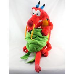 Grande Peluche dragon rouge Mushu Mulan avec sac Disney Jemini