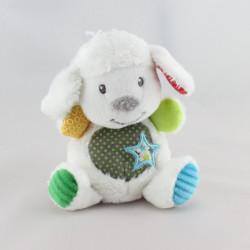 Doudou  mouton blanc imprimé multicolore étoile NICOTOY